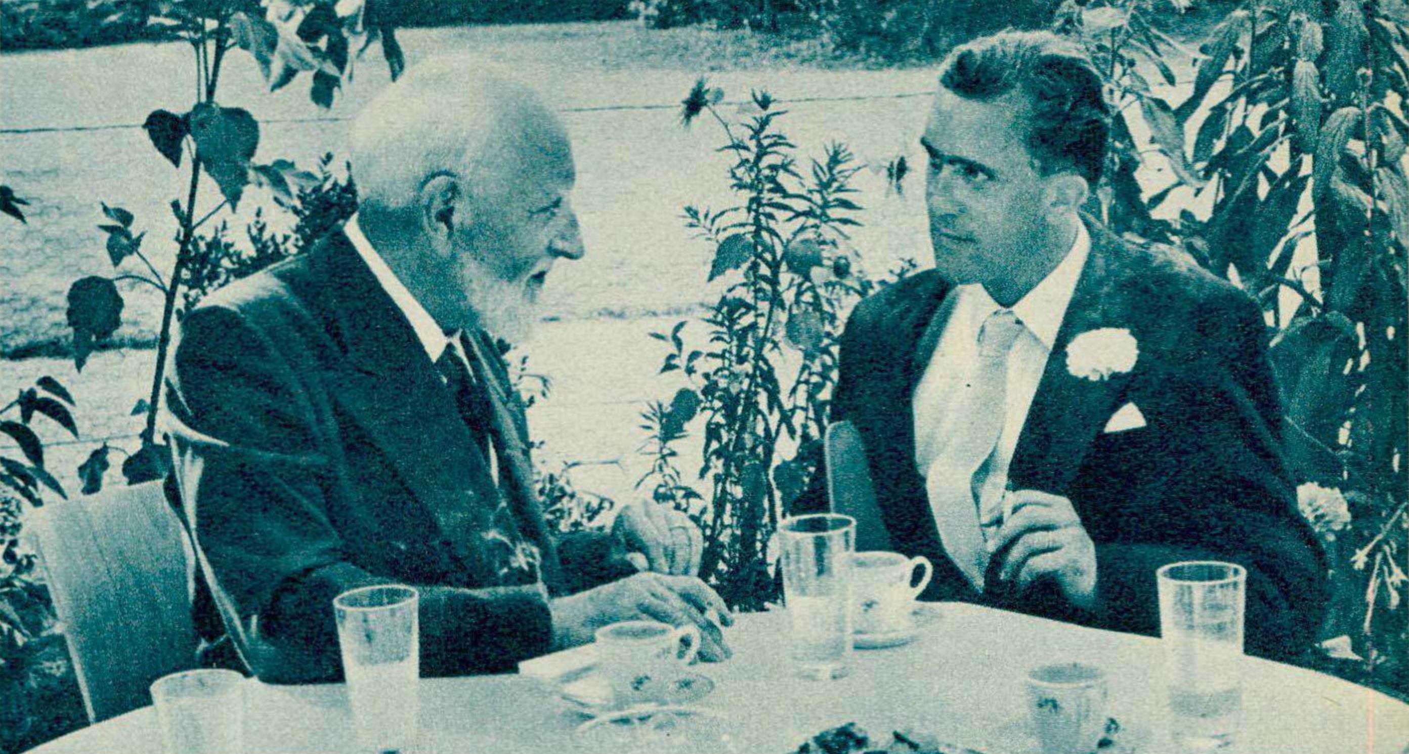 Ernest ANSERMET et Christian VÖCHTING en 1962, lors de son mariage avec Adrienne, l'une des filles de Frank MARTIN, une photo publiée entre autres dans la revue Radio TV Je vous tout du 9 août 1962, No 32, page 11