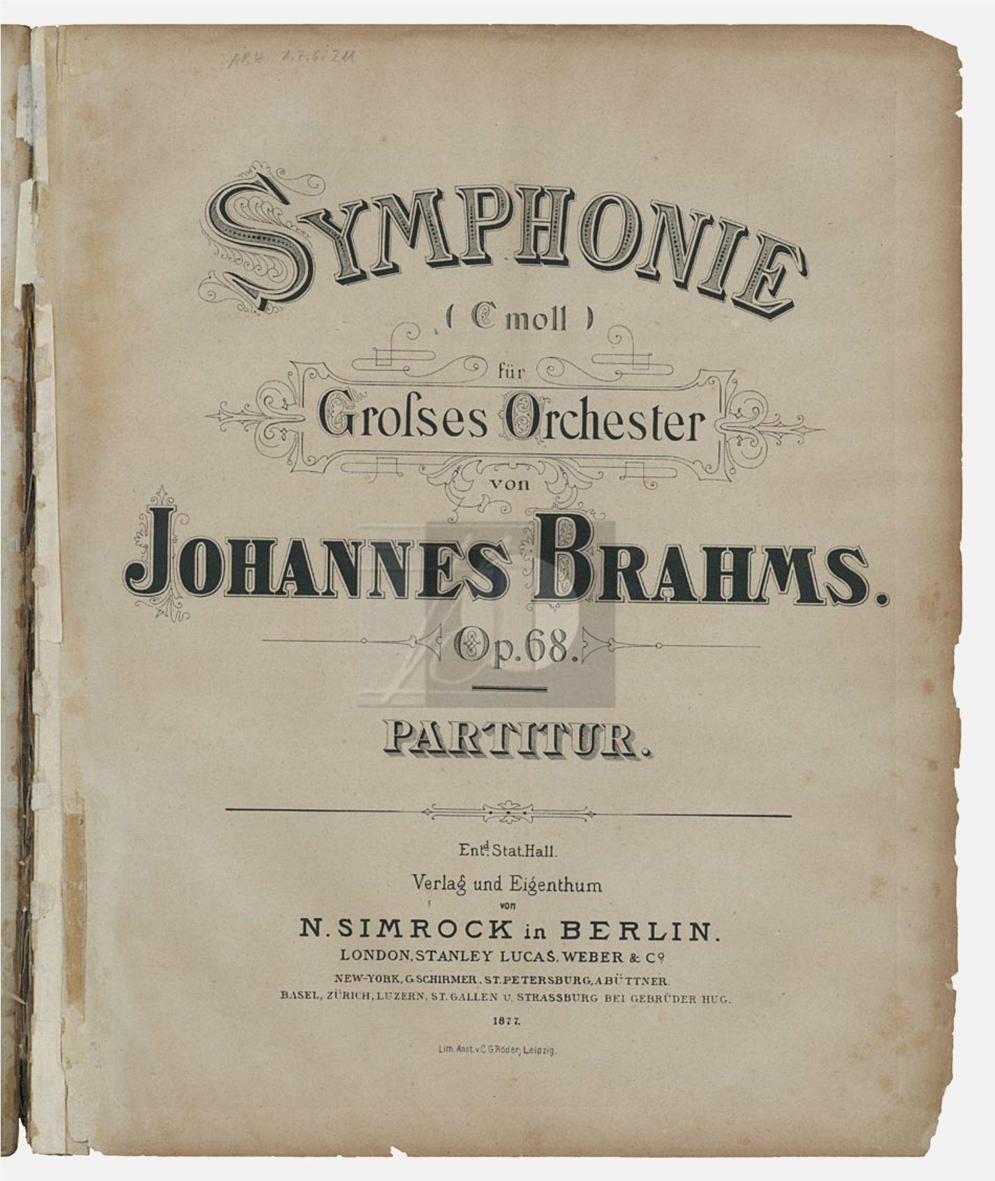 Johannes Brahms, symphonie No 1, page de couverture de la première édition, Berlin: N. Simrock, 1877. Plate 7957, cliquer pour pour voir l'original
