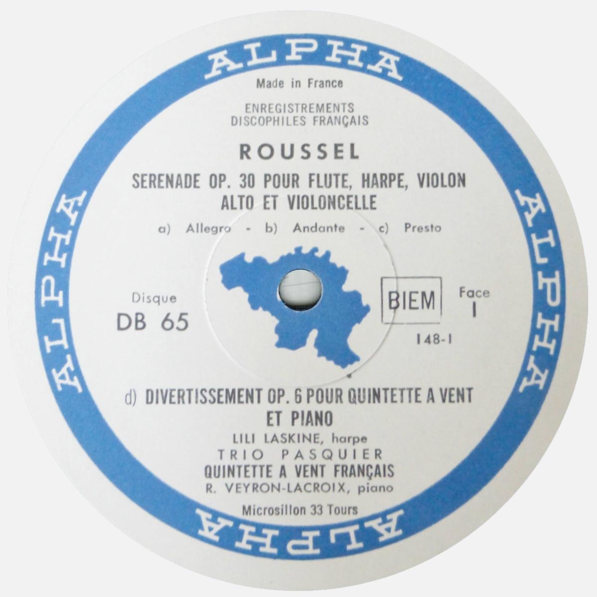 Étiquette du disque DB 65, cliquer pour une vue agrandie