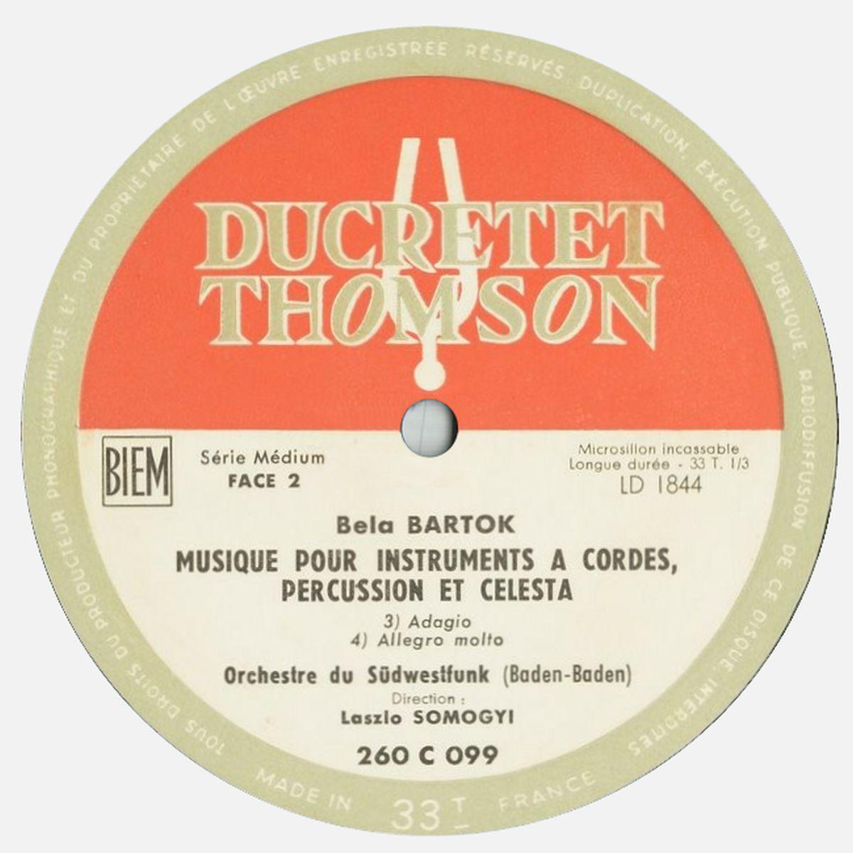 Étiquette du disque Ducretet-Thomson 260 C 099, cliquer pour une vue agrandie