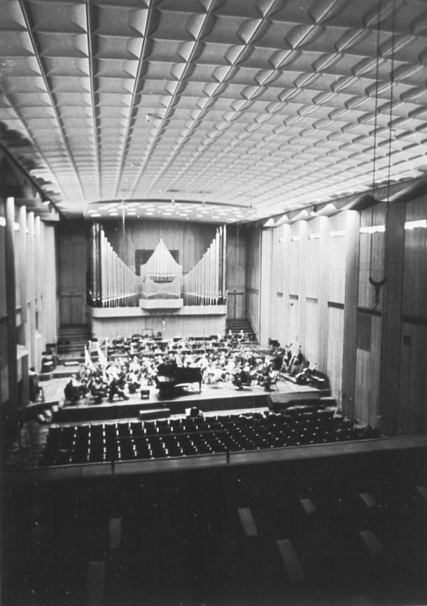 Rheinisches Bildarchiv Köln, Photo: Peter Friedrich Schneider, Westdeutscher Rundfunk, Funkhaus Wallrafplatz, Grosser Sendesaal