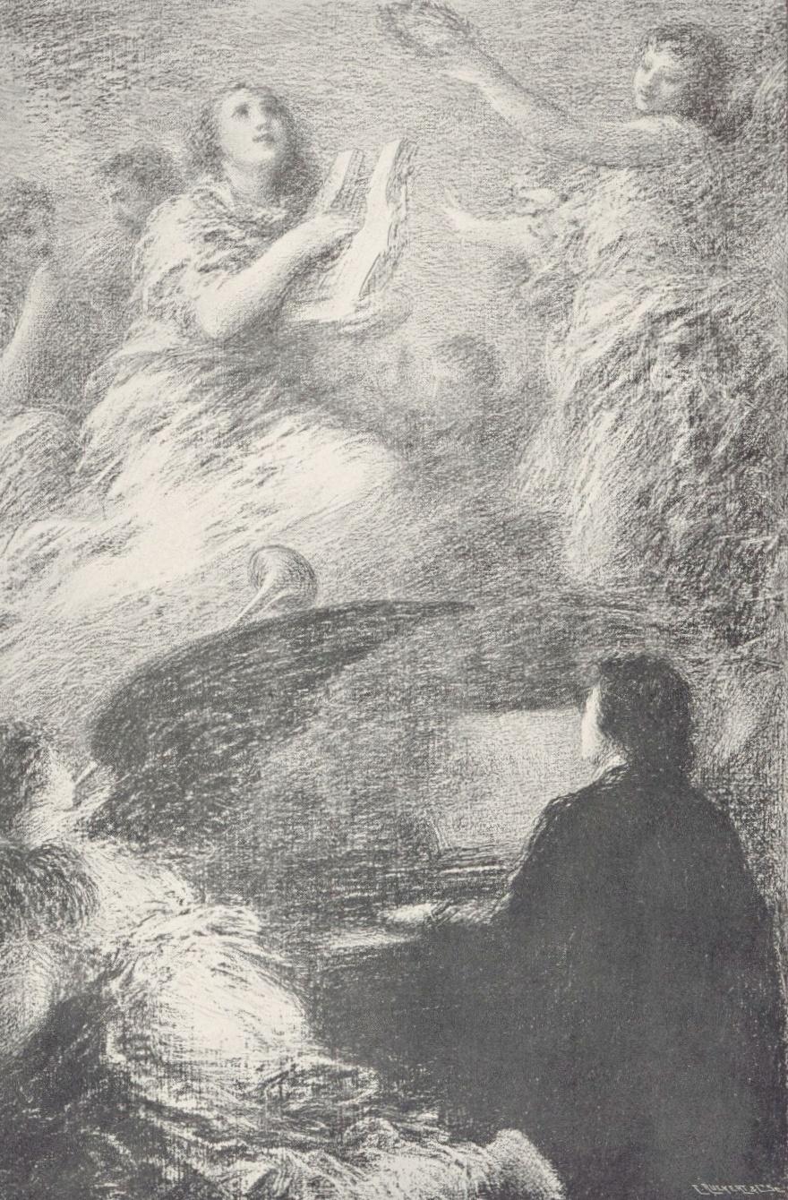 Le dernier thème de Schumann, Lithographie de Fantin-Latour - C. Ruckert & Cie, Paris,  1904, Cliquer sur la photo pour voir l'original et plus d'infos