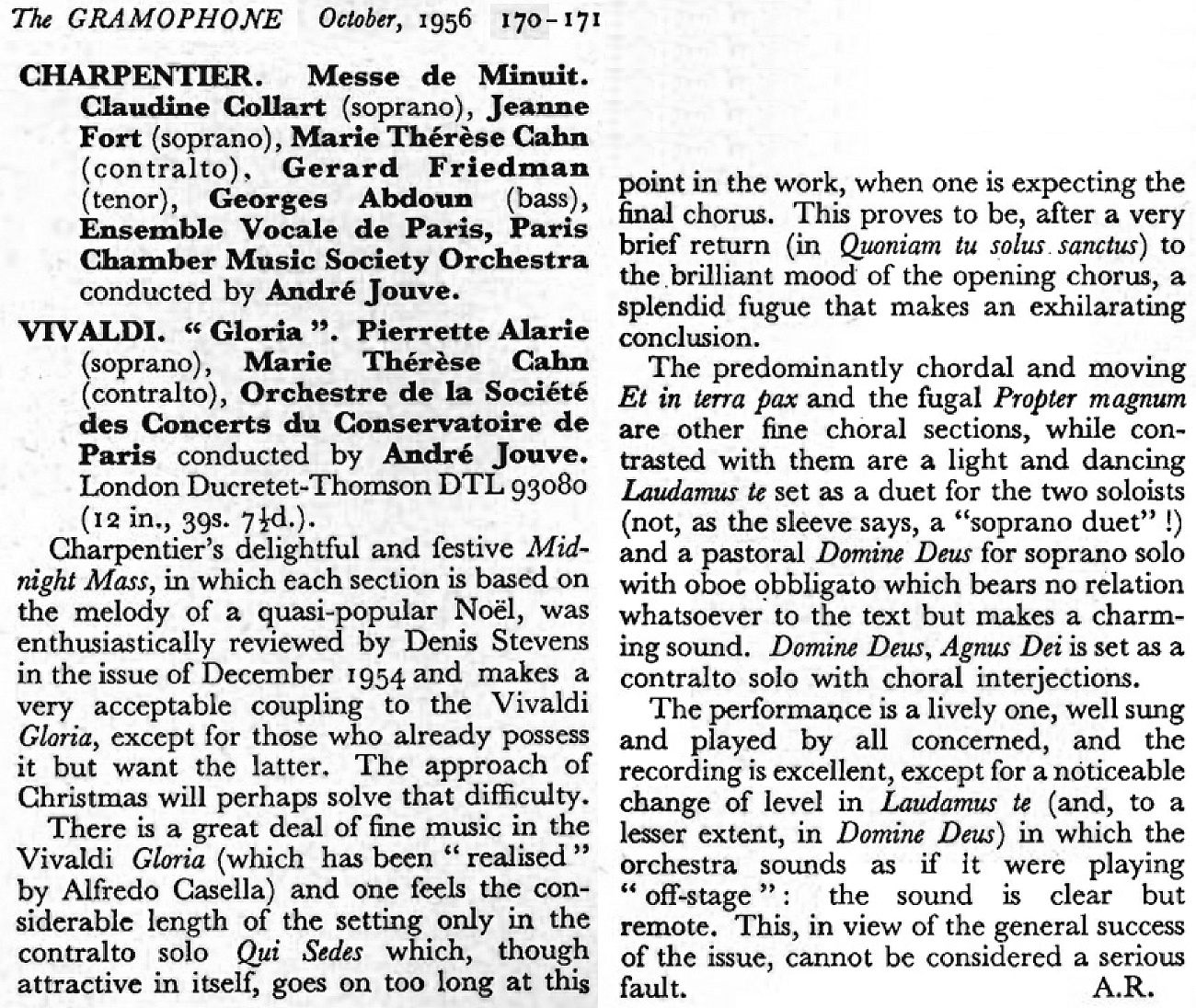Vivaldi Gloria Jouve The Gramophone october 1956 page 170 171 Extrait