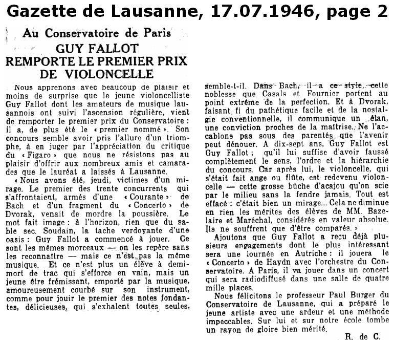 Fallot Guy Gazette de Lausanne 17 07 1946 Page 2
