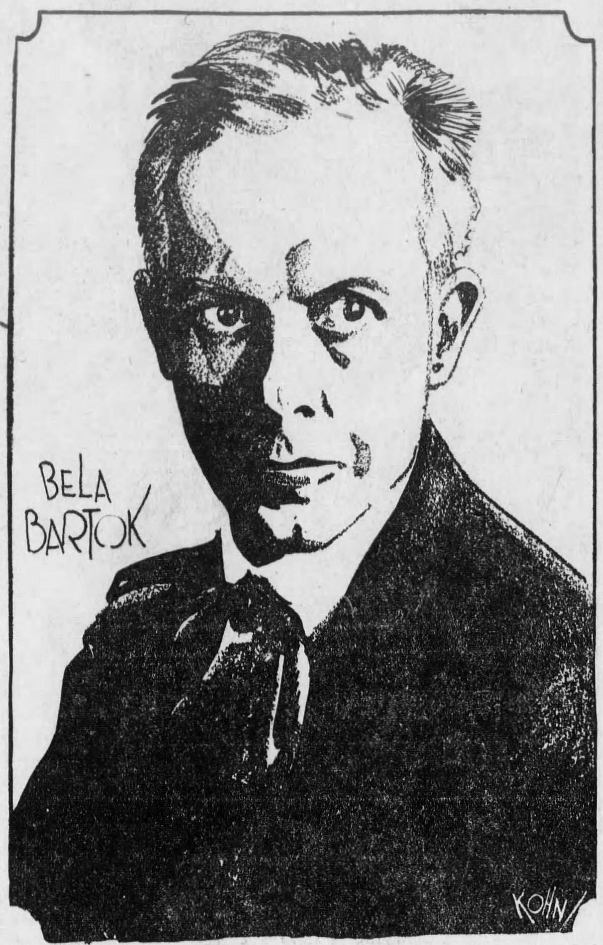 Portrait de Bela BARTOK - graphiste KOHN - paru dans le The Cincinnati Enquirer du dimanche 19 février 1928, à l'occasion de concerts donné par Bela Bartok avec le Cincinnati Symphony Orchestra les 24 et 25 février 1928, cliquer pour une vue agrandie