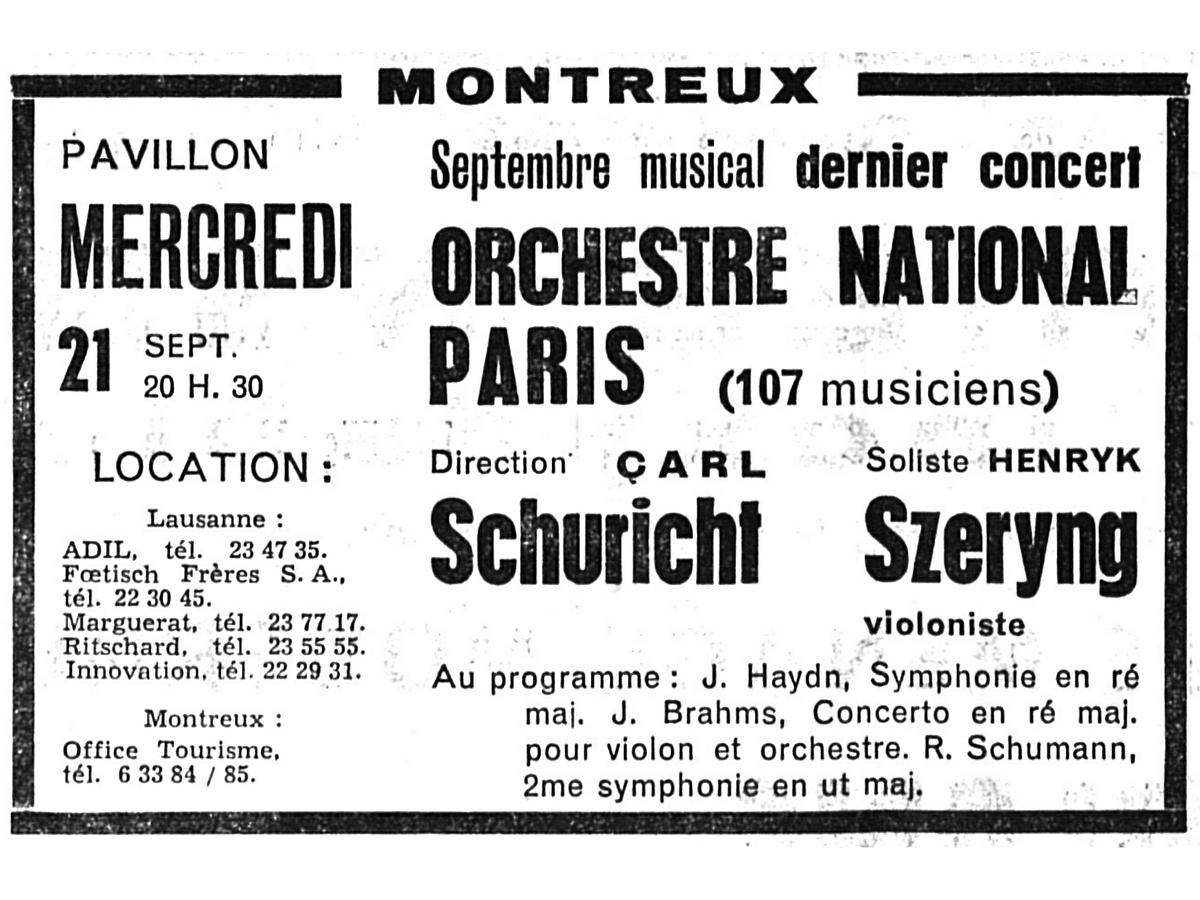Schuricht ONRTF Montreux Extrait Gazette de Lusanne 20 09 1955 09 20 Page 5