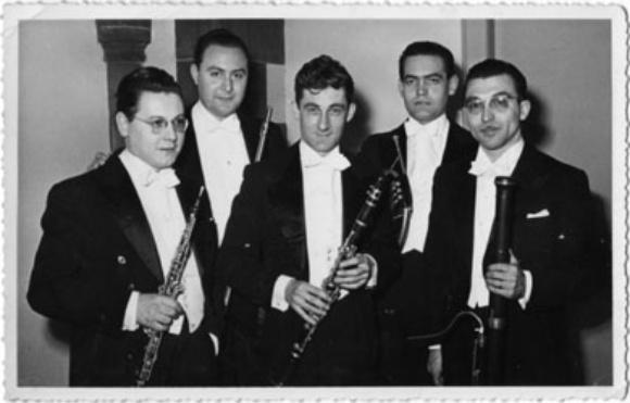 Quintette à Vent Français: de gauche à droite Pierre Pierlot (hautbois), Jean-Pierre Rampal (flûte), Jacques Lancelot (clarinette), Gilbert Coursier (cor) et Paul Hongne (basson)