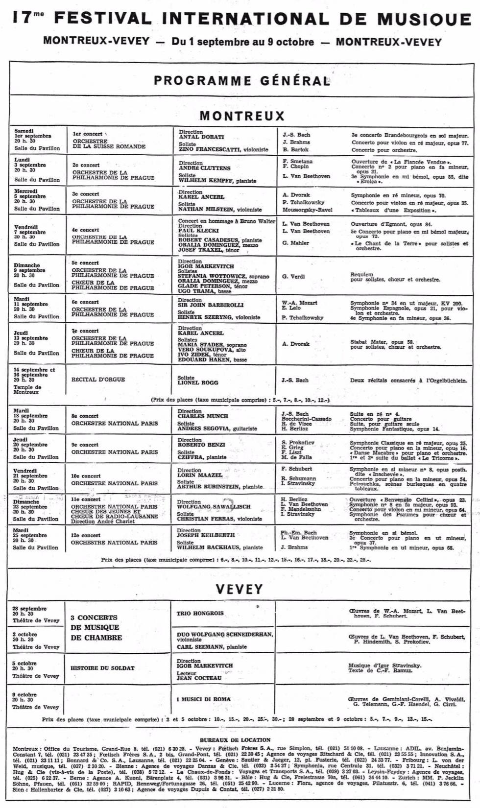Montreux Programme 1962